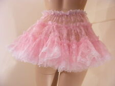 "SISSY ADULT BABY FANCY DRESS PINK LACE MICRO MINI SKIRT 11""LONG COPLAY LOLITA"