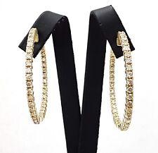 3.50 CT diamond hoop earrings 1.5 inch diameter 14k yellow gold certified F VS1
