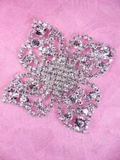 "N82 Silver Applique Crystal Rhinestone Metal Back Floral Embellishment 2.25"""