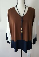 NWOT CHICO'S Travelers Collection Color Blocked Tassel Trim Knit Top-NWT Size 2P