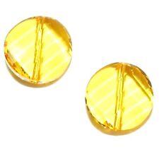 SCE185 LIGHT TOPAZ Yellow Flat Twist Round Coin 14mm Swarovski Crystal Bead 2pk