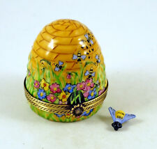 NEW FRENCH LIMOGES TRINKET BOX AMAZING COLORFUL BEEHIVE W FLOWERS REMOVABLE BEE