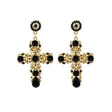 Women Fashion Earrings Crystal Gold Cross Earring Gems Ear Drop Dangle Earrings