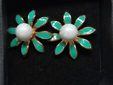 Fabulous beautiful enamel aqua flower and imitation earrings