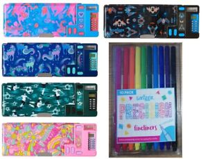 Smiggle Pop Out pencil case with calculator Football Unicorn space marker liners