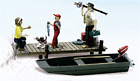 Family Fishing w- Boat & pier 3 painted figs HO 1/87 scale Woodland Scenics 1923