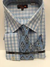 Men's Prime Time Powder & Navy Blue White Dress Shirt Tie Hankie Size 20.5 36/37