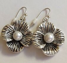 Silver White Pearl Earrings Plated Bridal Hibiscus Flower Island Hypoallergenic