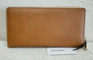 New $175 Brahmin Skyler Brown Smooth Leather Women's Wallet/Wristlet