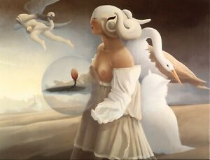 Michael Parkes THE LOTUS guardian cat bird nude magical fantasy color art print