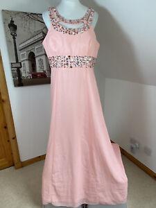 Amelia Maxi Dress Evening Coral Pink Chiffon Gown Size 16 Halter Neck Bridesmaid