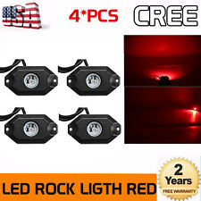 4x Red LED Rock Light JEEP ATV SUV Off-Road Truck Underbody Trail Rig Waterproof