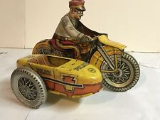 Vintage Marx Toys Wind Up Police Motorcycle With Side Car with Original Wind Key