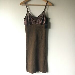 NWT Guess S Dress Los Angeles Brown Bodycon Wool Satin Adjustable Stretch Midi