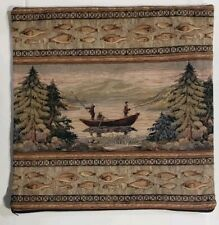 20x20 Alpine Lodge Rustic Fishing Cabin Throw Pillow Cover only