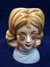 Vintage Rubens Originals Brown Lash Lady Head Vase 1960 Teenage Girl #4125