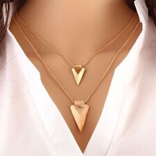 Multi-layered Triangle Geometric Pendants Necklaces Sample Chain Clavicle Chain