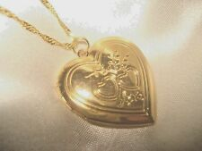GOLD PLATED PICTURE HEART  LOCKET & CHAIN-18 INCH WITH 2 HEARTS ENGRAVED IN FRON