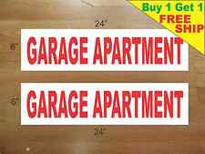 """GARAGE APARTMENT 6""""x24"""" REAL ESTATE RIDER SIGNS Buy 1 Get 1 FREE 2 Sided Plastic"""