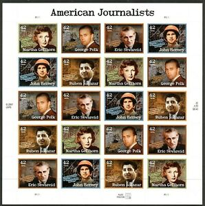 American Journalists Sheet of Twenty 42 Cent Postage Stamps Scott 4248-52