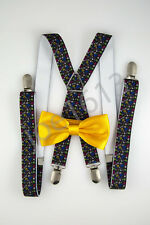 Yellow Orange Bow Tie Small Colored Skulls Suspender Combo Set Wedding SDBT042