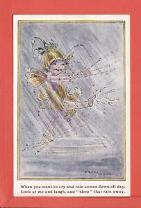 FLORA WHITE fairy splashing in puddles pub J. Salmon 4413 p/un but stamped