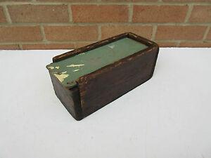 old vintage workshop small wooden tool storage wooden box sliding top