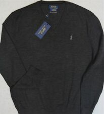 Polo Ralph Lauren VNeck Sweater Merino Wool Granite Size M Medium NWT $99