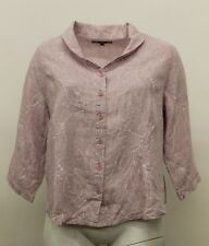 SPRING FLAX LINEN UPDATED POET BUTTONED SHIRT ORCHID VINE PLUS SIZE 1G 1X