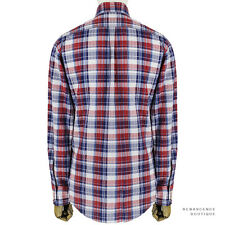 DSquared2 Red White Blue Plaid Checked Cotton Slim-Fitting Shirt M IT48
