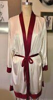 VTG 70'S-80'S FREDERICKS OF HOLLYWOOD*BURGUNDY&WHITE DRESS SHORT BELTED ROBE*0/S