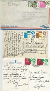 3 Mexican low-value Exporta stamp covers/cards to UK, Czechoslovakia, ship etc,