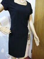 NEW L.K BENNETT FITTED EMBELLISHED DRESS SIZE UK 8 US 4 BLACK 96% WOOL 4% ELASTA