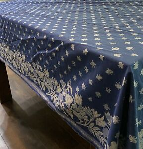 """Williams Sonoma Provence French Country Blue Floral Butterfly Tablecloth 70X90"""""""