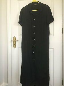 Hobbs (Marilyn Anselm) black 100% linen shirt style dress - size 12