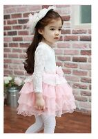 Kids Girls Long Sleeve Tiered Tulle Lace Event Dress Pink White Size 2-3-4-5-6-7