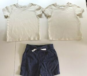 HANNA ANDERSSON 3T boys lot 90 cm ivory ribbed tees tops pull on shorts navy