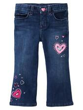 NWT BABY GAP EMBROIDERED BOOT CUT JEANS 3T 3 YEARS HEARTS VALENTINE'S DAY GIRLS