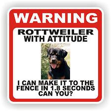ROTTWEILER DOG WARNING SIGN  FENCE 12 X 12 POLY STYRNE