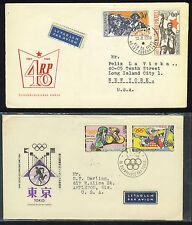 CZECHOSLOVAKIA 1954-60's TWO FDC's TO U.S OLYMPICS ISSU