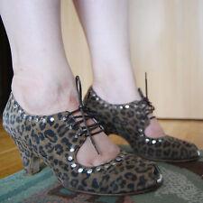 Angeline aleatoriamente Cuero Peep Toe Zapatos De Tacón Plata Animal Leopardo Pin Up Zapatos de UK5