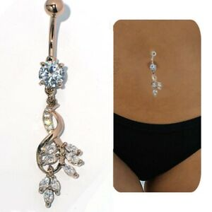 Long Leaf belly ring Dangle Drop Button navel piercing body jewelry Womens