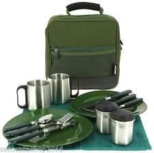 Besteck und Geschirr Set Deluxe Outdoor Camping Angeln Picknick, für 2 Personen