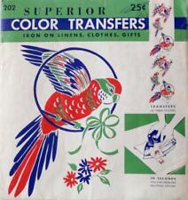Vintage SUPERIOR COLOR TRANSFER DESIGN No. 202 BIRD DESIGNS