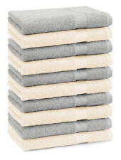 Betz lot de 10 serviettes débarbouillettes Premium: gris argenté & beige