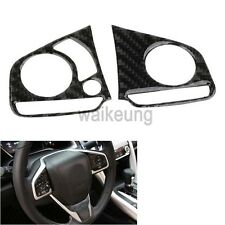 2x Carbon Fiber Steering Wheel Button Cover Trim Decor For 2016 2017 Honda Civic
