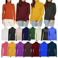 Womens Casual High Polo Neck Knitted Jumper Ladies Long Sleeve Warm Ribbed Top