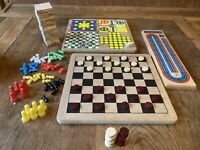 Bundle of 5 Wooden Games Cribbage, Draughts Etc. See Photos And Description.