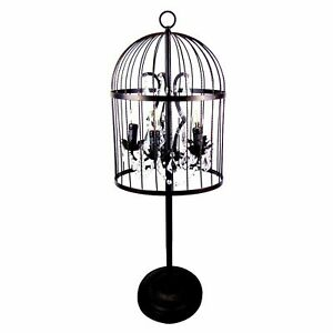 French Provincial Luxury Metal And Crystal Chandelier Bird Cage Table Lamp 90cmH