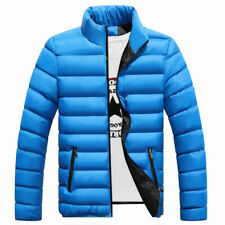 Men Warm Coat Stand Collar light Outerwear Jacket Casual Overcoat Blue size L